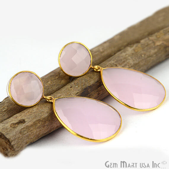 Rose Chalcedony Round & Pears Shape 42x20mm Gold Plated Dangle Stud Earrings
