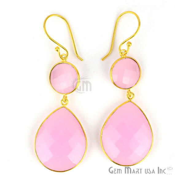 Rose Chalcedony 63x20mm Gold Plated Gemstone Dangle Earrings