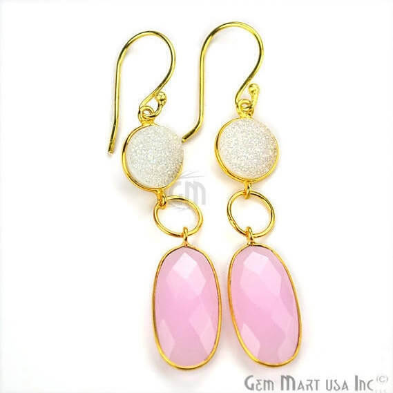 Rose Chalcedony 61x10mm Gold Plated Gemstone Dangle Earrings (RCER-90098)