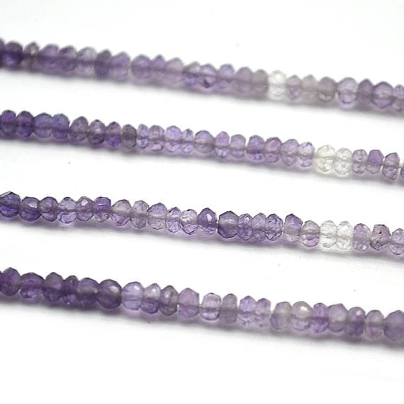Amethyst Shaded Micro Faceted Rondelle 3-4mm 14Inch Length AAAmazing quality Jewelry Making Supply Beads (RLAA-70010)