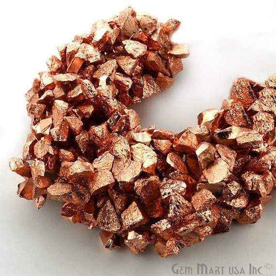 1 Strand Copper Pyrite AAA High Quality Rough Nugget Chips 10Inch length Jewelry Making Supply (RLCP-70011)