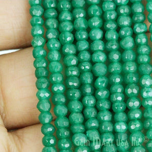 Green Onyx Micro Faceted Rondelle 3-4mm 13Inch Length AAAmazing Quality (RLGO-70002)