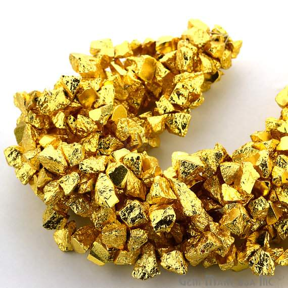 1 Strand Yellow Pyrite Aaa High Quality Rough Nugget Chips 10Inch length Jewelry Making Supply (RLGP-70011)