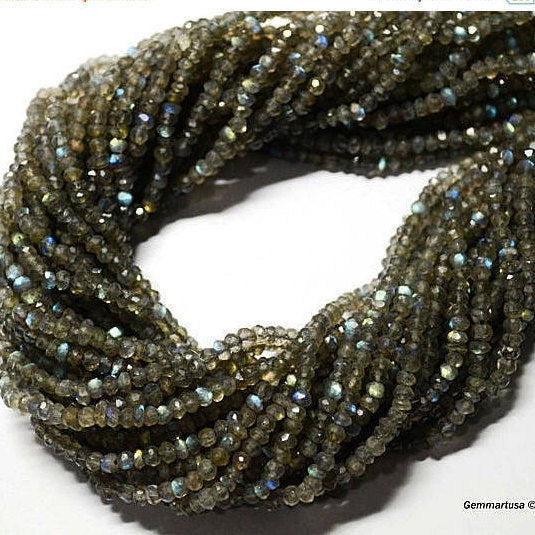 Labrodorite Micro Faceted Rondel 3-4mm 13Inch Length AAAmazing quality 100 Percent Natural (RLLB-70002)