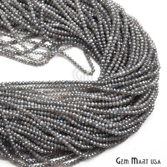 Mystique Labradorite Faceted Gemstones Rondelle Beads, Jewelry Making Supply Beads (RLML-70001)