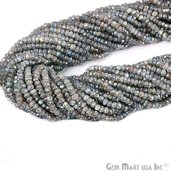 Mistique Labradorite Rondelles Micro Faceted 3-4mm 13Inch Length AAAmazing Quality (RLML-70002)