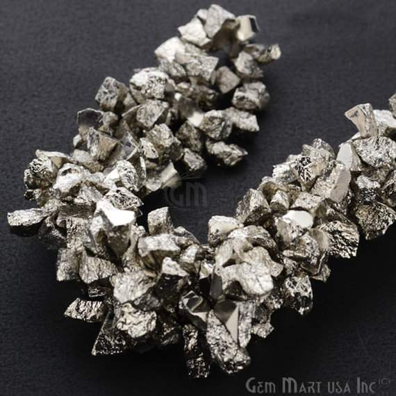 1 Strand Silver Color Pyrite AAA High Quality Rough Nugget Chips 10Inch length Jewelry Making Supply (RLNP-70011)