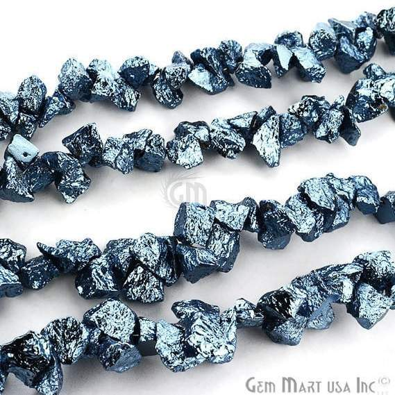 1 Strand Sky Blue Pyrite AAA High Quality Rough Nugget Chips 10Inch length Jewelry Making Supply (RLSB-70011)