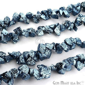 1 Strand Sky Blue Pyrite AAA High Quality Rough Nugget Chips 10Inch length Jewelry Making Supply (RLSB-70011) - GemMartUSA