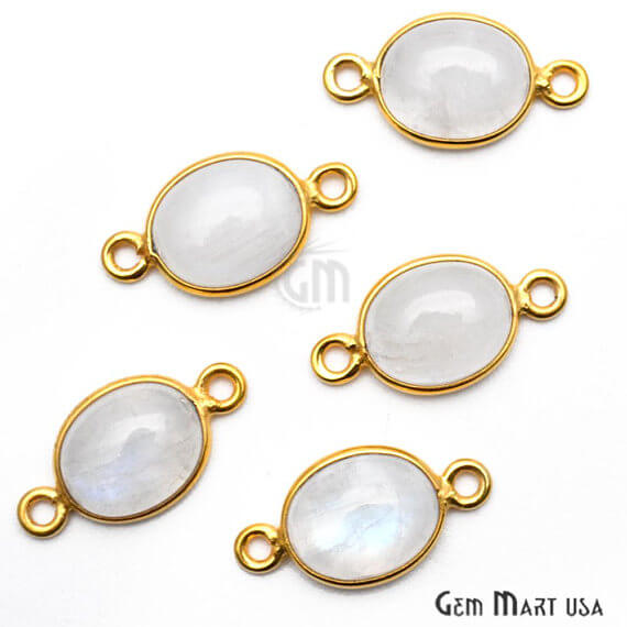 Rainbow Moonstone Oval Shape 10x8mm Gold Plated Bezel Double Bail Gemstone Link Connector