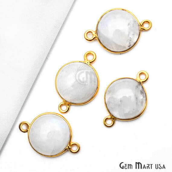 Rainbow Moonstone Round Shape 12mm Gold Plated Bezel Double Bail Gemstone Link Connector (RM-10656)