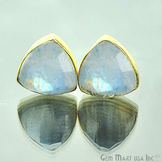 One Pair 24k Gold Plated Rainbow Moonstone Stud, 10mm Trillion Shape Gemstone Studs Earring (RM-90013)