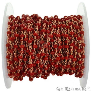 Red Coral 3-3.5mm Rose Gold Plated Wire Wrapped Rosary Chain - GemMartUSA
