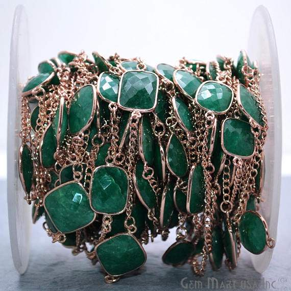 Emerald Connector Chain, Rose Gold Plated Continuous Bezel Chain, Jewelry Making Supplies (RPEM-20007)