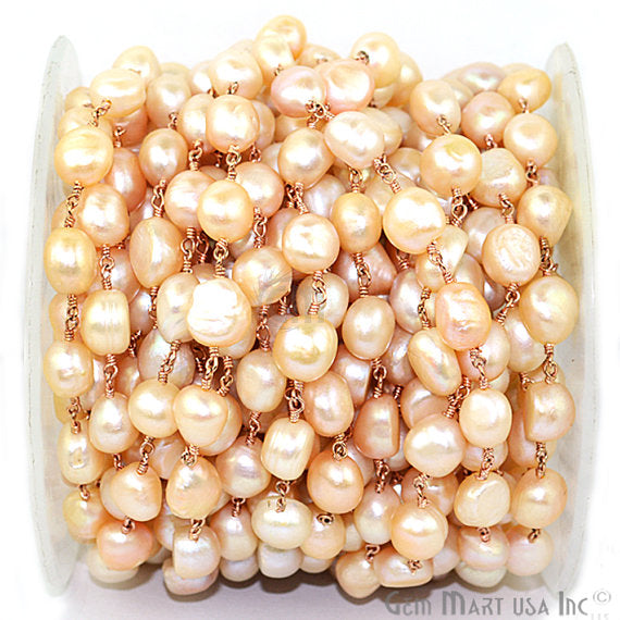 Pink Pearl Freeform Beads Chain, Rose Gold Plated wire wrapped Rosary Chain, Jewelry Making Supplies (RPPP-30041)