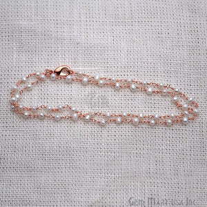 Pearl Necklace Chain, Rose Gold Plated Wire Wrapped Beads Rosary Necklace Chain