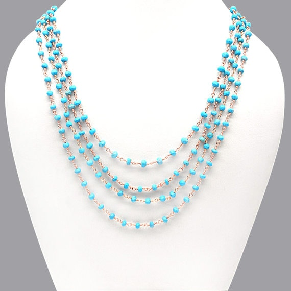Turquoise Necklace Chain, 3-3.5mm Rose Gold Plated Wire Wrapped Beads Necklace Chain 18Inch Long