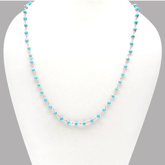 Turquoise Necklace Chain, 3-35mm Rose Gold Plated Wire Wrapped Beads Necklace Chain 18Inch Long