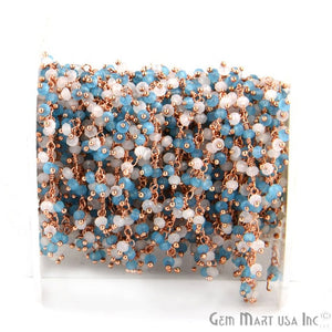 White & Blue Chalcedony Faceted Beads Rose Gold Plated Dangle Rosary Chain - GemMartUSA