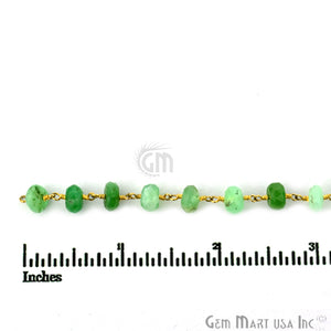 Chrysoprase 6-7mm Gold Plated Wire Wrapped Rosary Chain