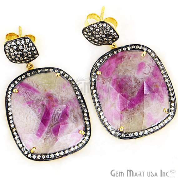 Beautiful Handmade Pink Sapphire Earring,Cz Pave Diamond Gold Vermeil Earring 46x27mm,(SHCZ-90099)