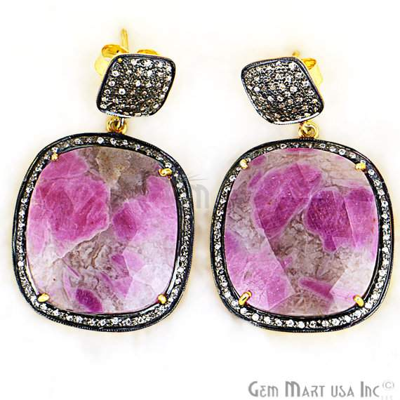 Beautiful Handmade Ruby Earring, 49x29mm Cz Pave Diamond Gold Vermeil Earrings (SHCZ-90113)