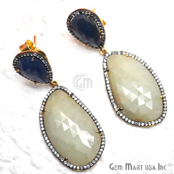 Blue & Green Sapphire With Cubic Zirconia Pave Diamond 50x19mm,Gold Vermeil Dangle Drop Stud Earring