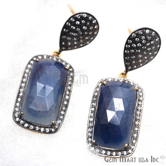 Blue Sapphire With Cubic Zirconia Pave Diamond 45x16mm,Gold Vermeil Dangle Drop Stud Earring