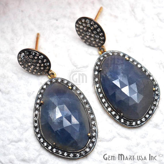 Blue Sapphire With Cubic Zirconia Pave Diamond 42x20mm,Gold Vermeil Dangle Drop Stud Earring