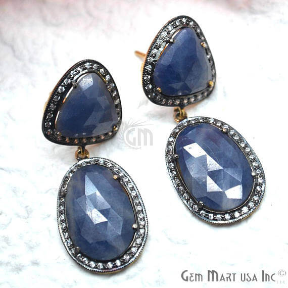 Blue Sapphire With Cubic Zirconia Pave Diamond 16x45mm,Gold Vermeil Dangle Drop Stud Earring