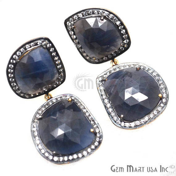Blue Sapphire With Cubic Zirconia Pave Diamond 44x20mm,Gold Vermeil Dangle Drop Stud Earring