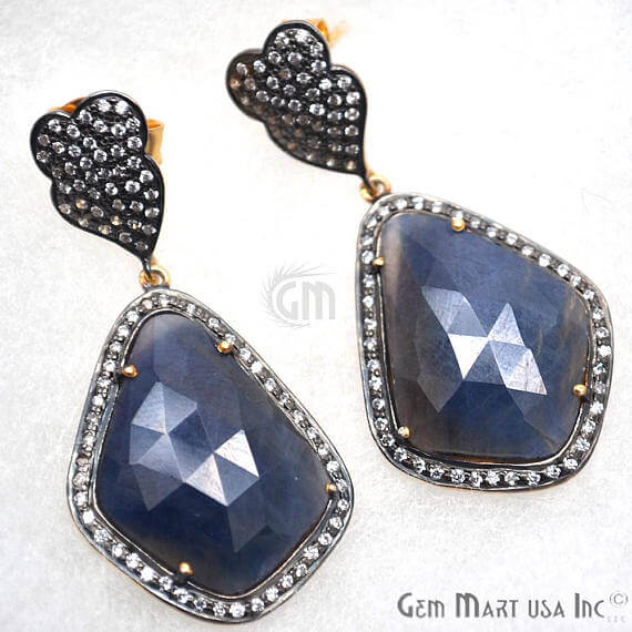 Blue Sapphire With Cubic Zirconia Pave Diamond 56x23mm,Gold Vermeil Dangle Drop Stud Earring