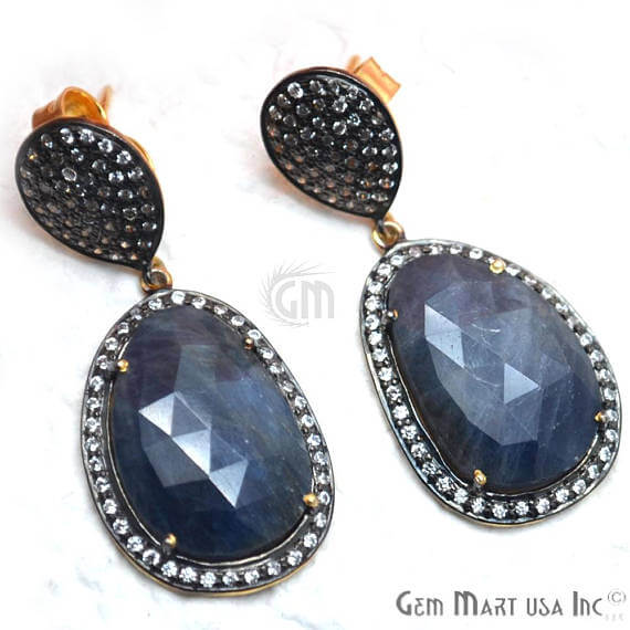 Blue Sapphire With Cubic Zirconia Pave Diamond 42x18mm,Gold Vermeil Dangle Drop Stud Earring