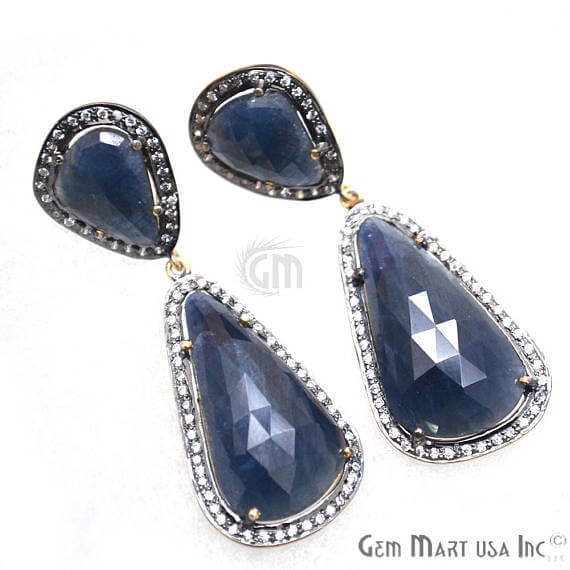 Blue Sapphire With Cubic Zirconia Pave Diamond 53x17mm,Gold Vermeil Dangle Drop Stud Earring