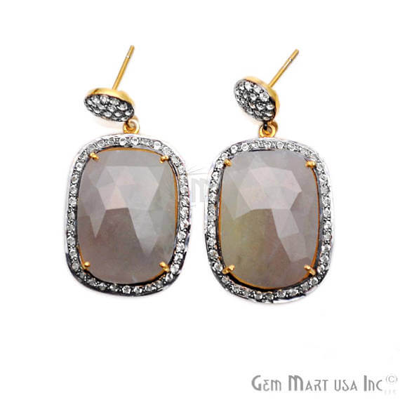 Grey Sapphire With Cubic Zirconia Pave Diamond 22x40mm,Gold Vermeil Dangle Drop Stud Earring