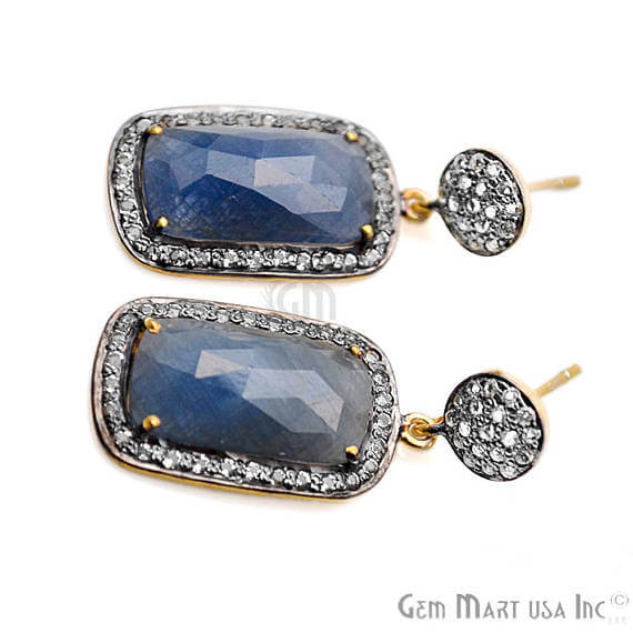 Blue Sapphire With Cubic Zirconia Pave Diamond 36x15mm,Gold Vermeil Dangle Drop Stud Earring