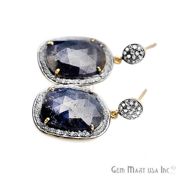Blue Sapphire With Cubic Zirconia Pave Diamond 36x19mm,Gold Vermeil Dangle Drop Stud Earring