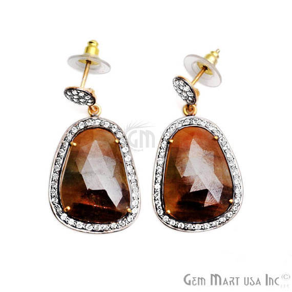 Brown Sapphire With Cubic Zirconia Pave Diamond 39x20mm,Gold Vermeil Dangle Drop Stud Earring