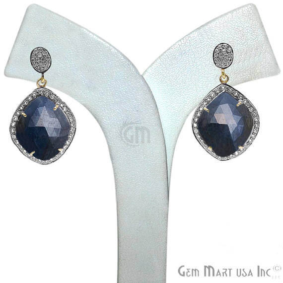 Blue Sapphire With Cubic Zirconia Pave Diamond 38x22mm,Gold Vermeil Dangle Drop Stud Earring
