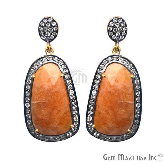 Orange Sapphire With Cubic Zirconia Pave Diamond 44x19mm,Gold Vermeil Dangle Drop Stud Earring