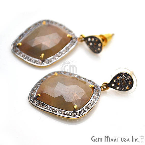 Brown Sapphire With Cubic Zirconia Pave Diamond 40x22mm,Gold Vermeil Dangle Drop Stud Earring