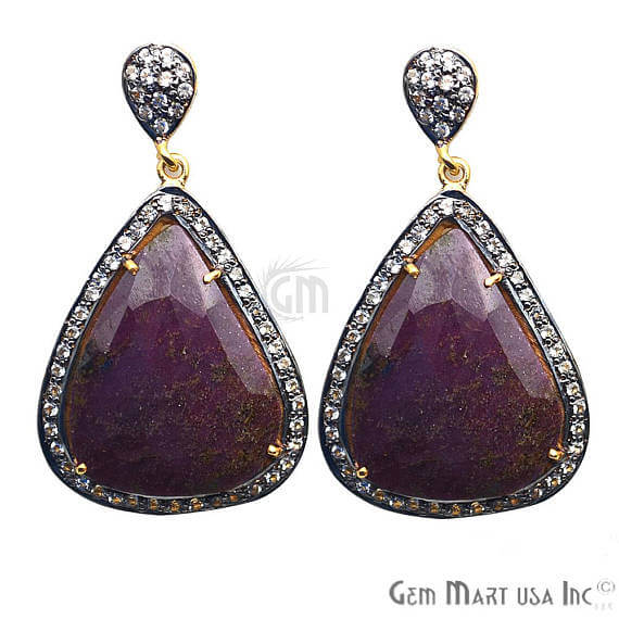 Purple Sapphire With Cubic Zirconia Pave Diamond 46x25mm,Gold Vermeil Dangle Drop Stud Earring