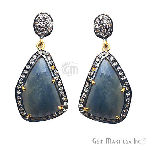 Blue Sapphire With Cubic Zirconia Pave Diamond 18x38mm,Gold Vermeil Dangle Drop Stud Earring