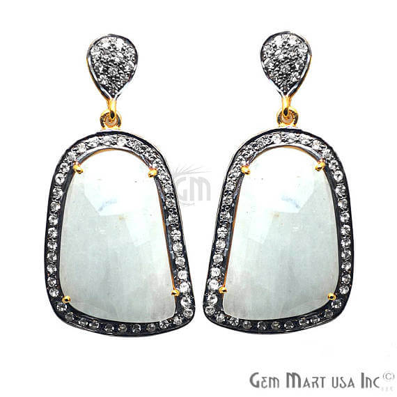 White Sapphire With Cubic Zirconia Pave Diamond 44x21mm,Gold Vermeil Dangle Drop Stud Earring