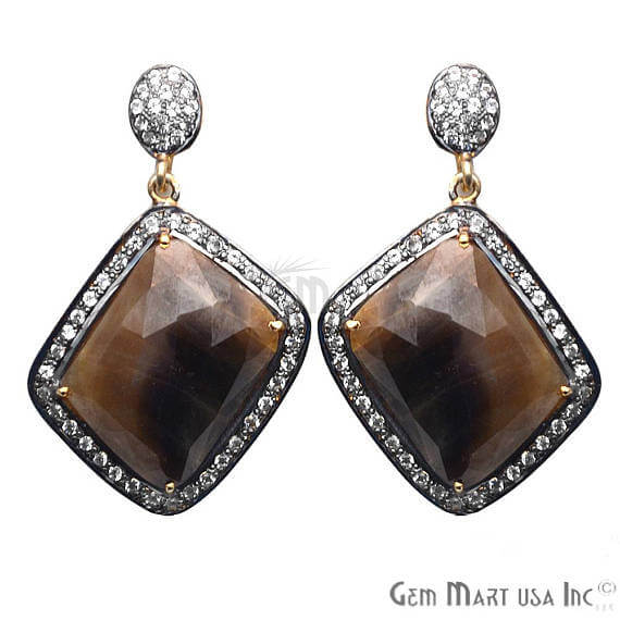 Brown Sapphire With Cubic Zirconia Pave Diamond 43x27mm,Gold Vermeil Dangle Drop Stud Earring