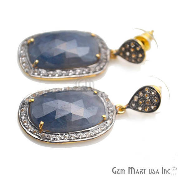 Blue Sapphire With Cubic Zirconia Pave Diamond 38x17mm,Gold Vermeil Dangle Drop Stud Earring