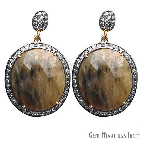 Brown Sapphire With Cubic Zirconia Pave Diamond 27x43mm,Gold Vermeil Dangle Drop Stud Earring