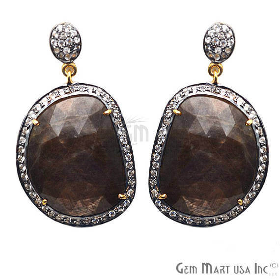 Brown Sapphire With Cubic Zirconia Pave Diamond 43x25mm,Gold Vermeil Dangle Drop Stud Earring
