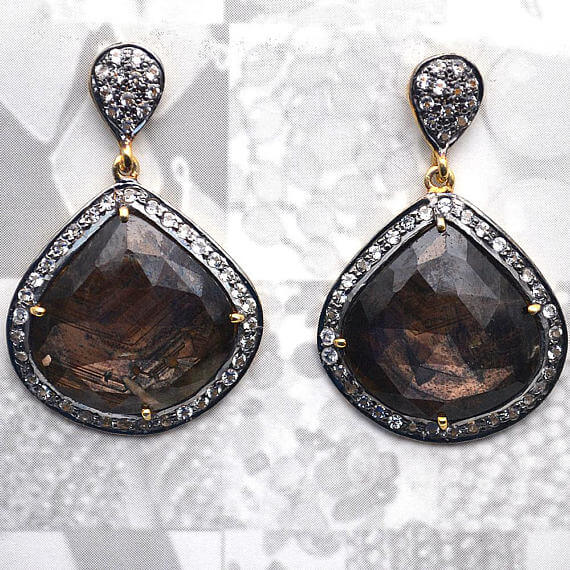 Brown Sapphire With Cubic Zirconia Pave Diamond 39x25mm,Gold Vermeil Dangle Drop Stud Earring