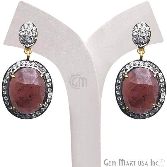 Red Sapphire With Cubic Zirconia Pave Diamond 35x19mm,Gold Vermeil Dangle Drop Stud Earring
